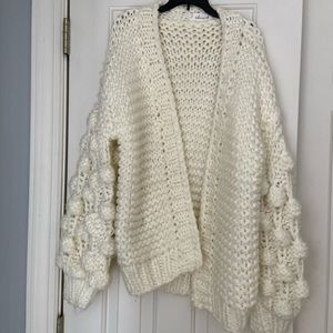 Beautiful Pom Cream Knit Chunky Cardigan